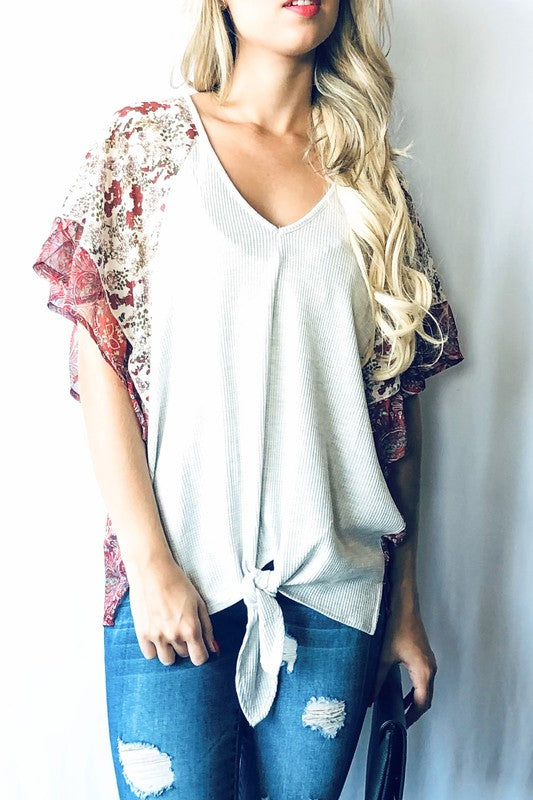 Floral Sleeve Casual Top
