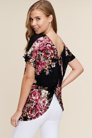 Twisted Back Floral Top - black
