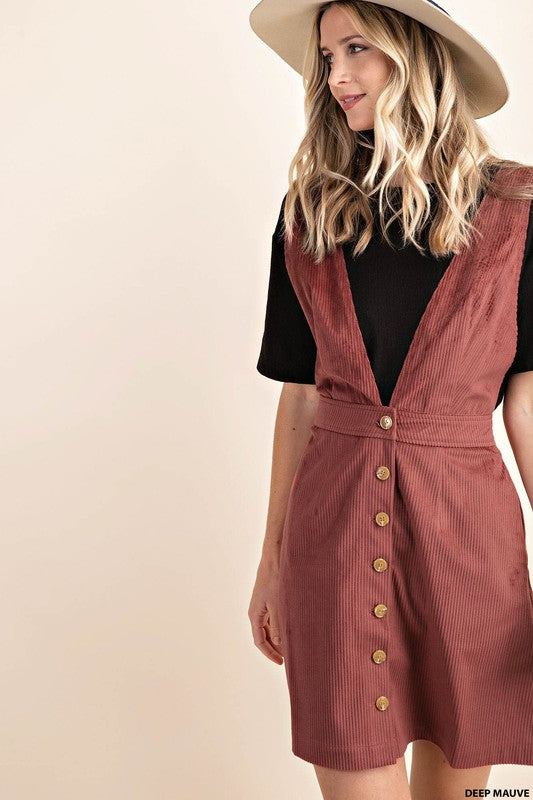 Deep V Corduroy Dress - mauve