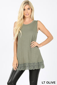 Lace Bottom Tank - olive and eggplant