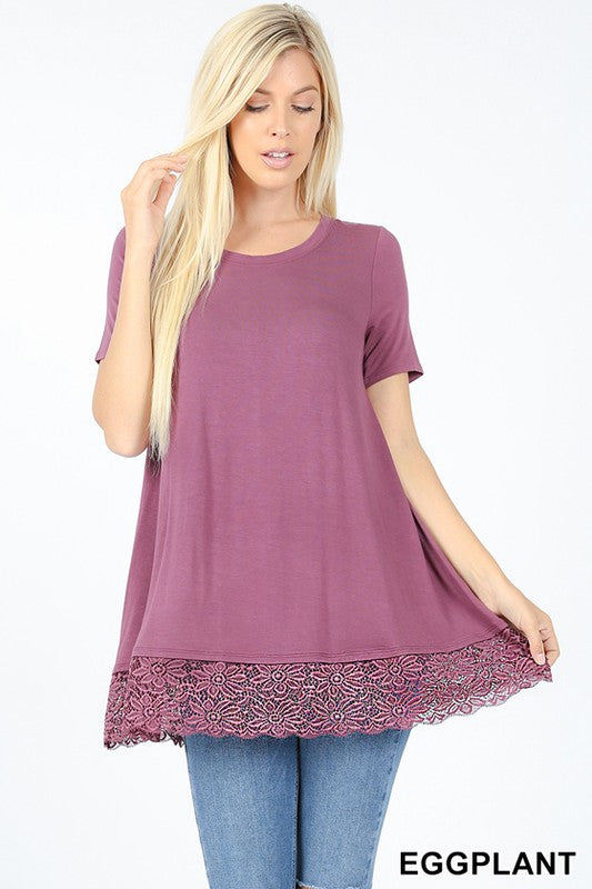 Lace Bottom Short-Sleeve - eggplant and black