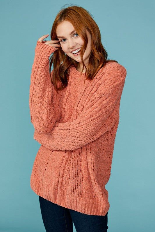 Chenille Cable Knit Sweater - brick