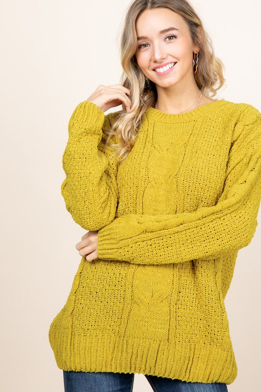 Chenille Cable Knit Sweater - mustard