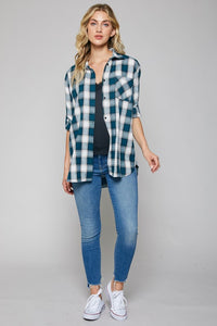 Plaid Button-up Tunic - teal