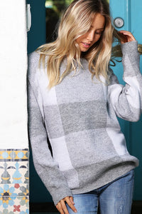 Casual Plaid Sweater - heather grey