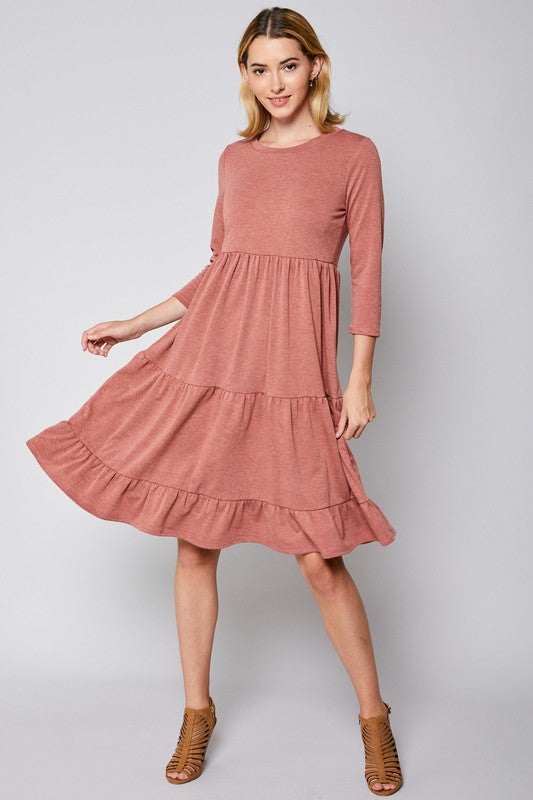 Tiered Dress - heathered rust