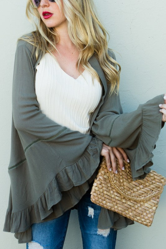 Wide Sleeve Ruffle Cardigan - Olive