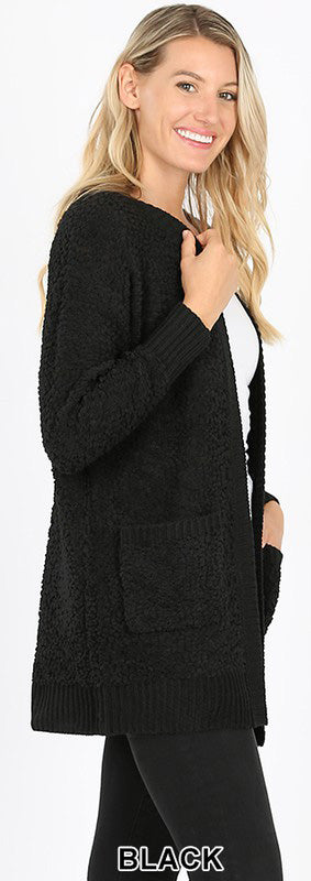 Popcorn Cardigan - eggplant and black