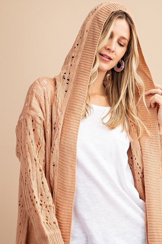 Textured Hoodie Cardigan - apricot