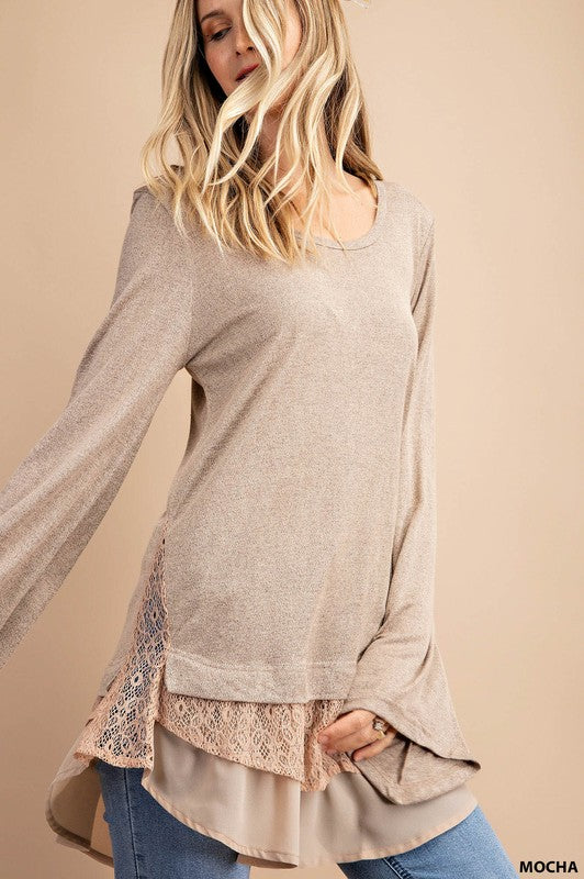 Isn't It Romantic - Lace and Chiffon Contrast Top - mocha