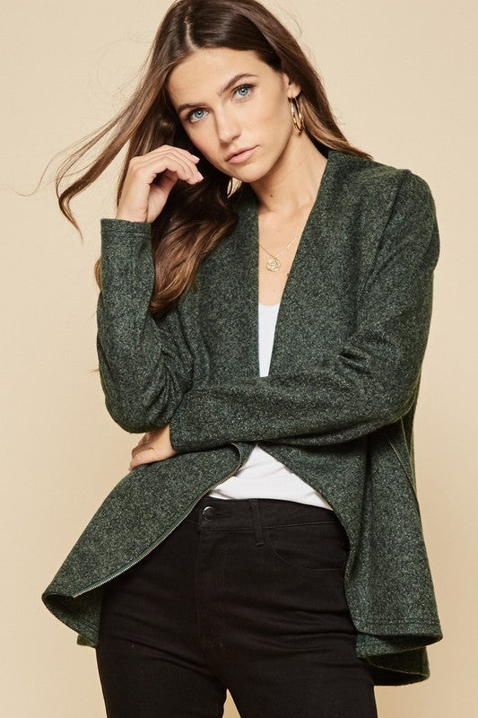 Asymmetrical Zipper Front Jacket (green)