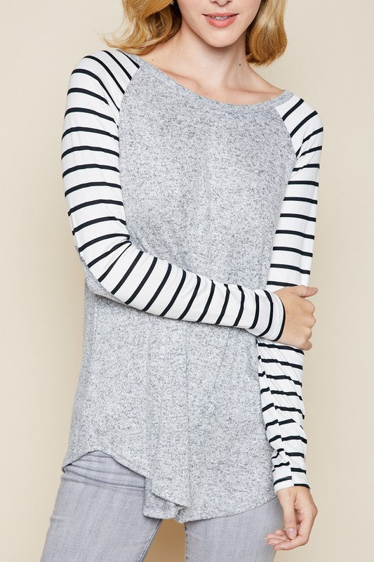 Striped-sleeve Raglan - heather grey
