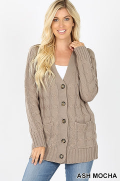 Cable Knit Sweater - mocha and olive