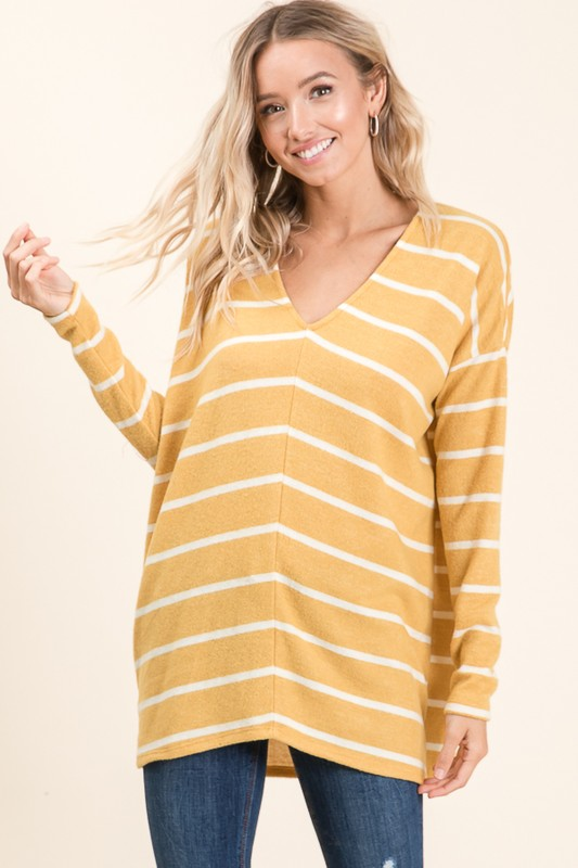 Relaxed Fit Striped Top - Mustard/Ivory