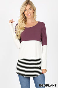 Colorblock Striped Top - eggplant