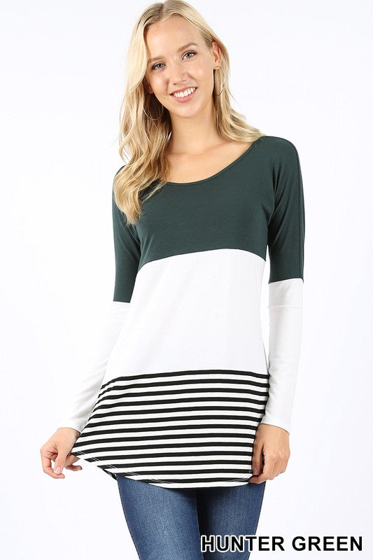 Colorblock Striped Top - hunter green