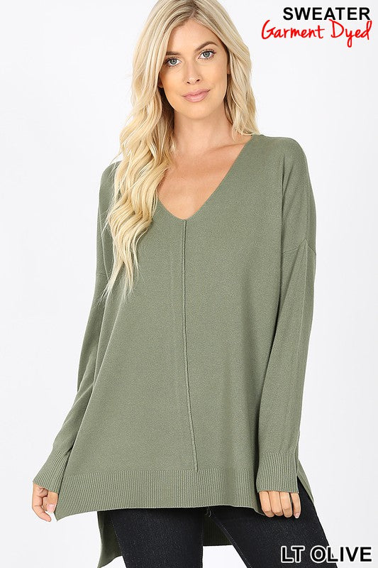 Soft V-neck Sweater - light olive