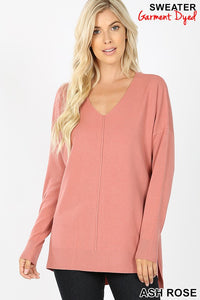 Soft V-neck Sweater - rose