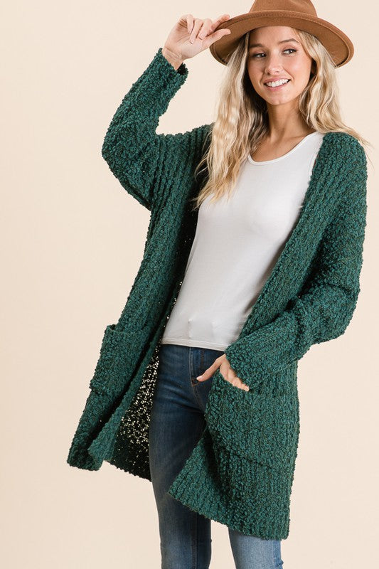 Popcorn Knit Cardigan - teal