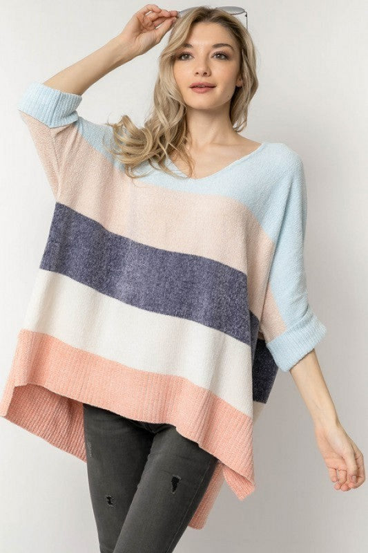 Colorblock Sweater Top - blue combo