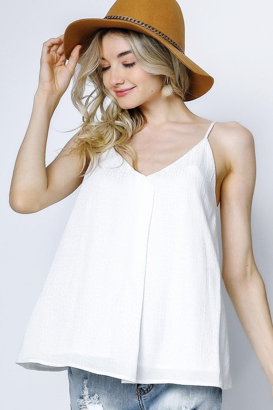 Adjustable Pleat Front Cami Top - Off White