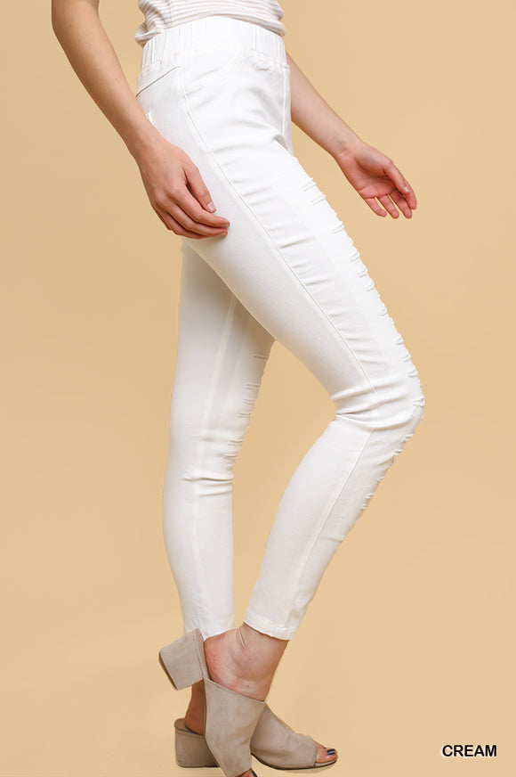 Ripped Jeggings - cream