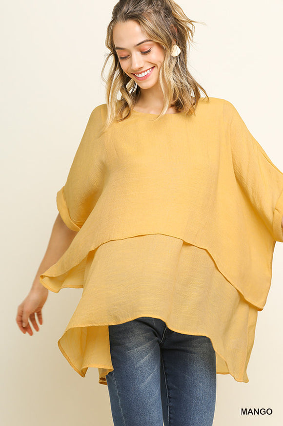 Breezy Overlay Top - yellow and grey