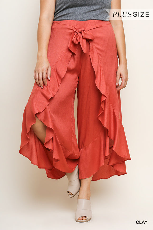 Fun in the Sun Pants with Ruffle - clay red