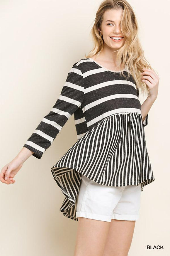 Striped Babydoll Top - black/white