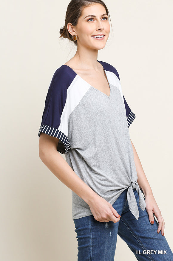 Sporty Tie Top - navy/grey