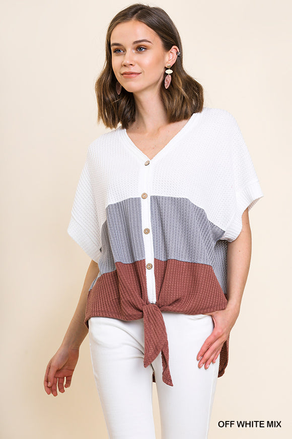Button-up Goodness Colorblock Top