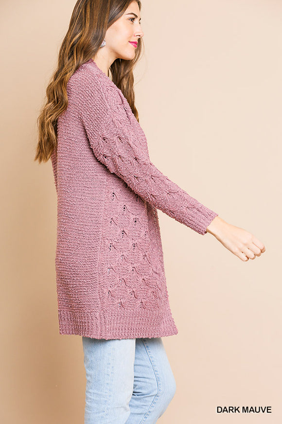 Soft Knit Cardigan (mauve)