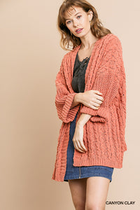 Folded Sleeve Cable Knit Sweater - clay