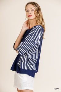 Slimming Striped Top - navy