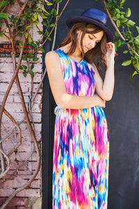 Watercolor Print Maxi Dress