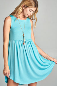 Sleeveless Swing Dress - aqua