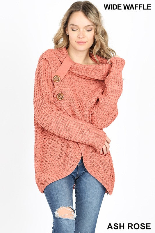 Cowl Neck Button Sweater - rose and grey