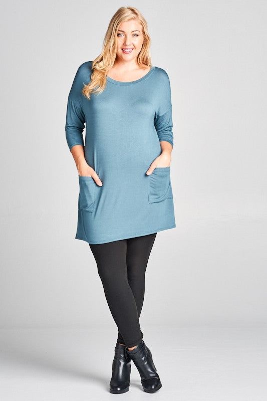 Back Button Tunic (with pockets) - antique blue