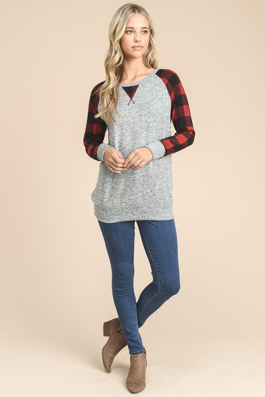 Gingham Plaid Raglan