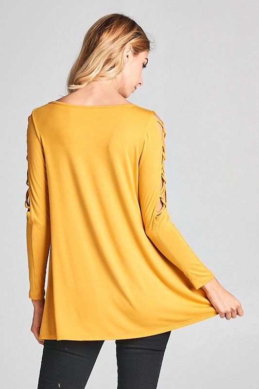 It's all about the Arms Top - mustard
