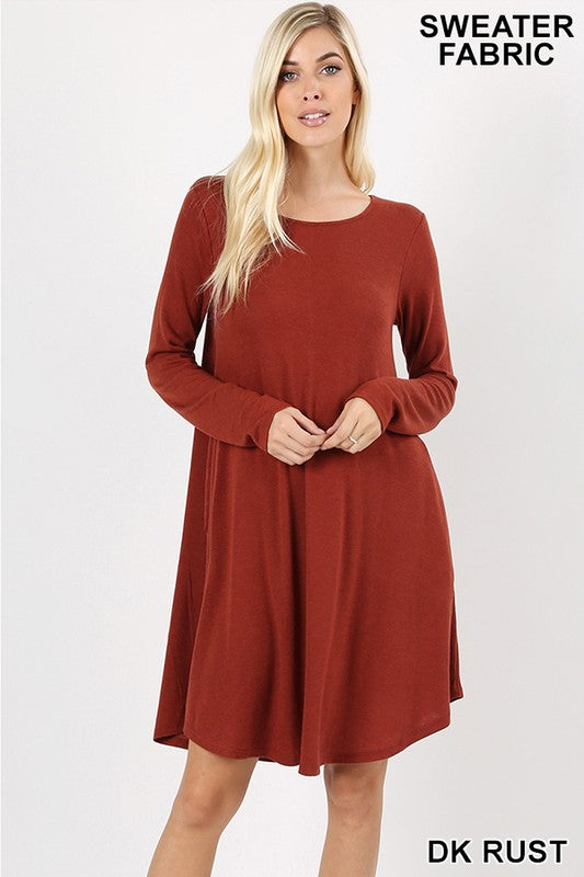 Sweater Flare Dress - brick red