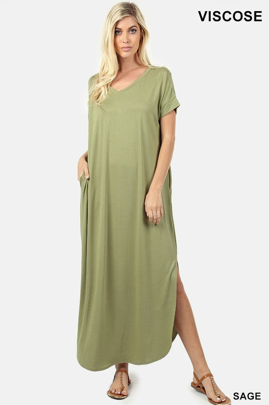 V-Neck Maxi Dress - sage green