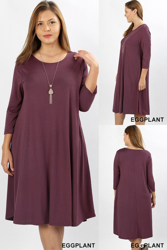 Viscose Flare Dress (with pockets) - eggplant