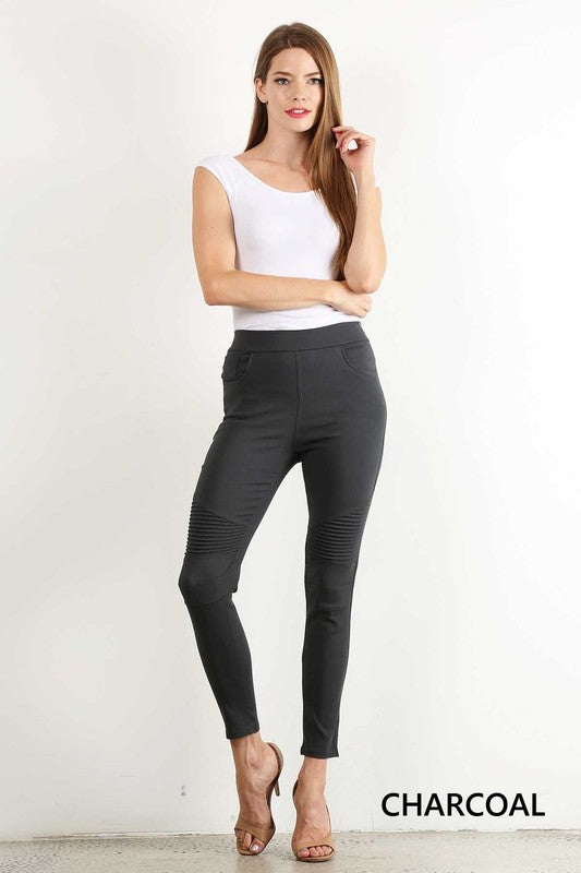 Moto Jeggings - charcoal