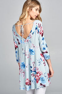 Sweetheart Back Floral Tunic - powder blue