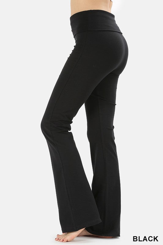 Fold-over Yoga Pants - black