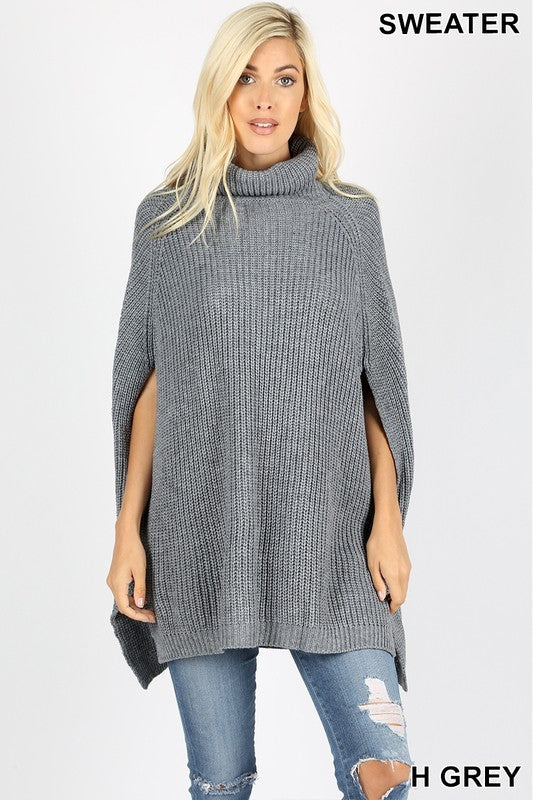 Turtleneck Poncho - heathered grey