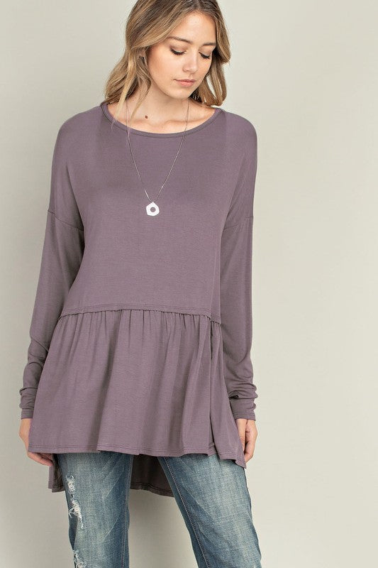 Bamboo Side Slit Top - ash purple or dusty blue