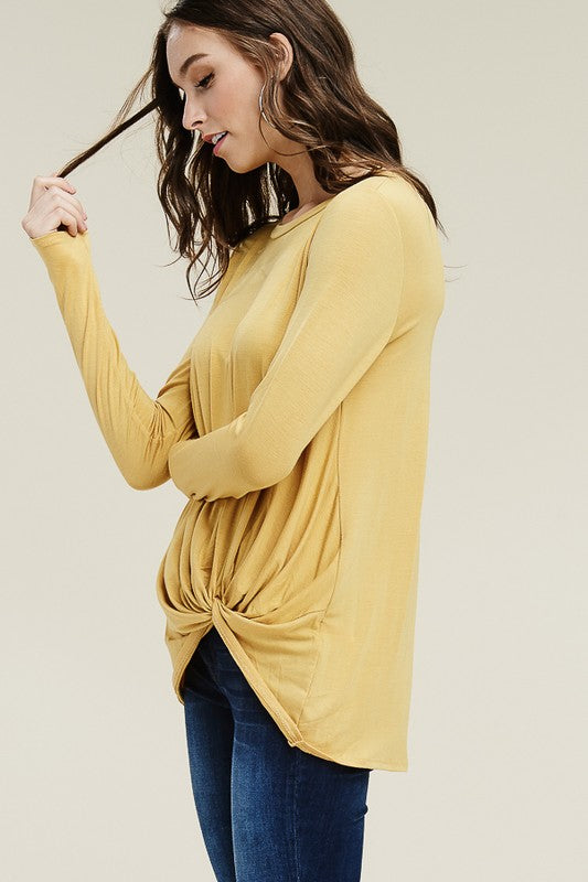 Twisted Front Top - hunter green and mustard