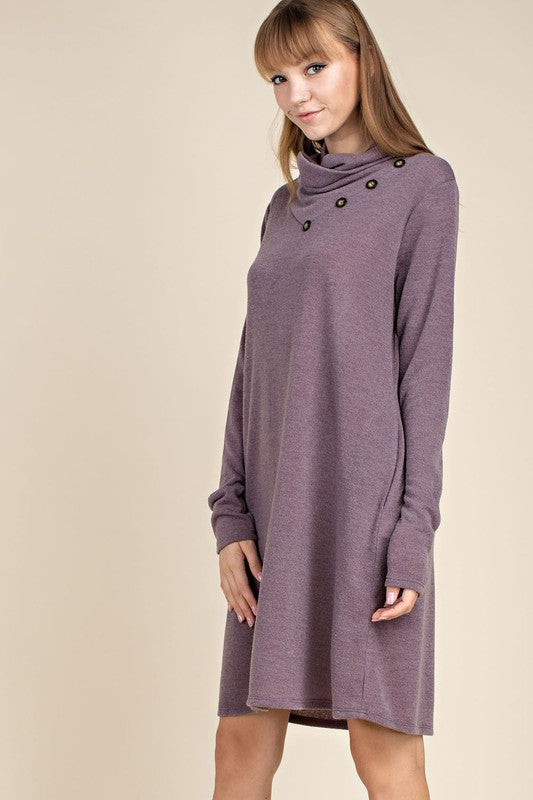 Cowl Neck Dress - mauve